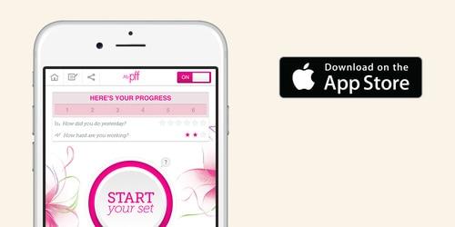 Smartphone met fitnessapp voor bekkenbodem en dat het beschikbaar is in de app store.