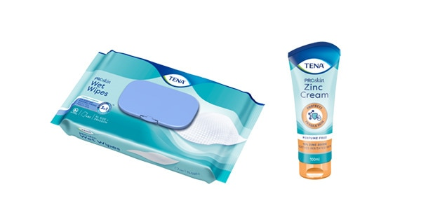 Soins d'hygiène personnelle TENA ProSkin : lingette et crèmes