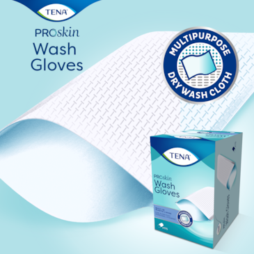 TENA ProSkin Wash Gloves with lining covers the entire hand for hygienic cleansing ideal for incontinence care
