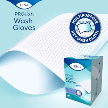 Umývacia rukavica TENA Wash Gloves s výstelkou pokryje celú ruku na hygienické čistenie, ideálne pri inkontinenčnej starostlivosti