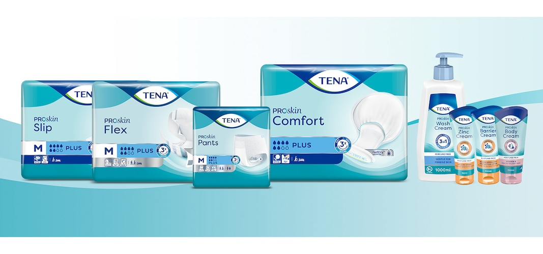 Product previews of TENA ProSkin Flex, TENA ProSkin Pants, TENA ProSkin Hygiene Care assortment, TENA ProSkin Comfort, and TENA ProSkin Slip.