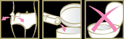 Riisu TENA Silhouette -suoja repimällä sivusaumat auki