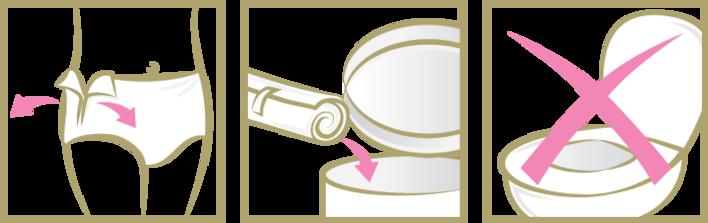 Las braguitas TENA Silhouette para la incontinencia se pueden quitar fácilmente rasgando las costuras laterales