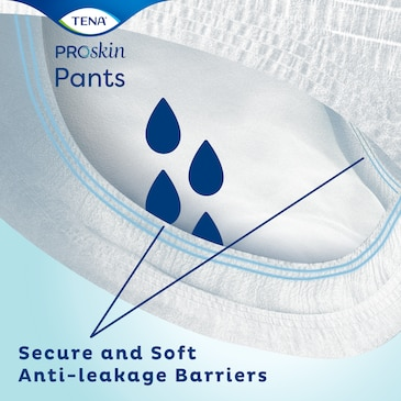 A close up of TENA ProSkin Pants secure and soft anit-leakage barriers