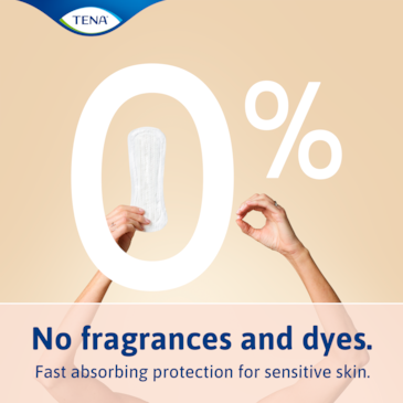TENA lights incontinence liners are free from fragrances and dyes