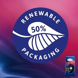 El envoltorio de plástico de las compresas TENA Silhouette ha sido fabricado utilizando, como mínimo, un 50% de fuentes renovables
