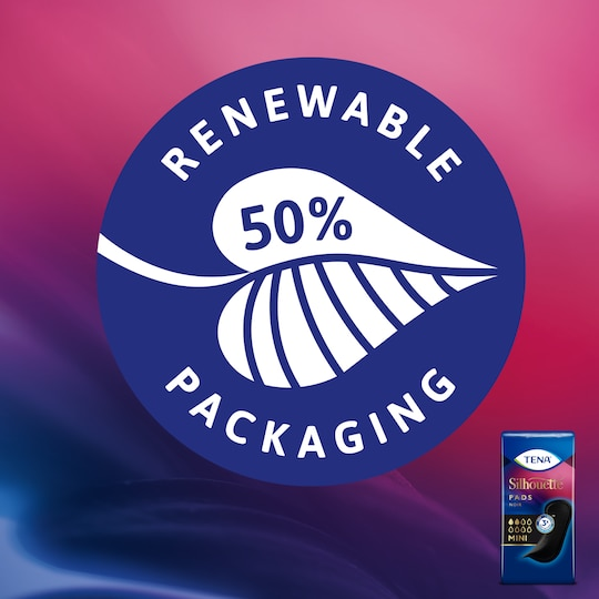 The TENA Silhouette Pads plastic bag is made from at least 50% renewable sources