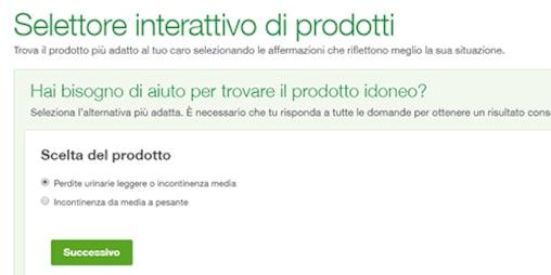 Immagine del selettore interattivo di prodotti TENA per i familiari assistenti