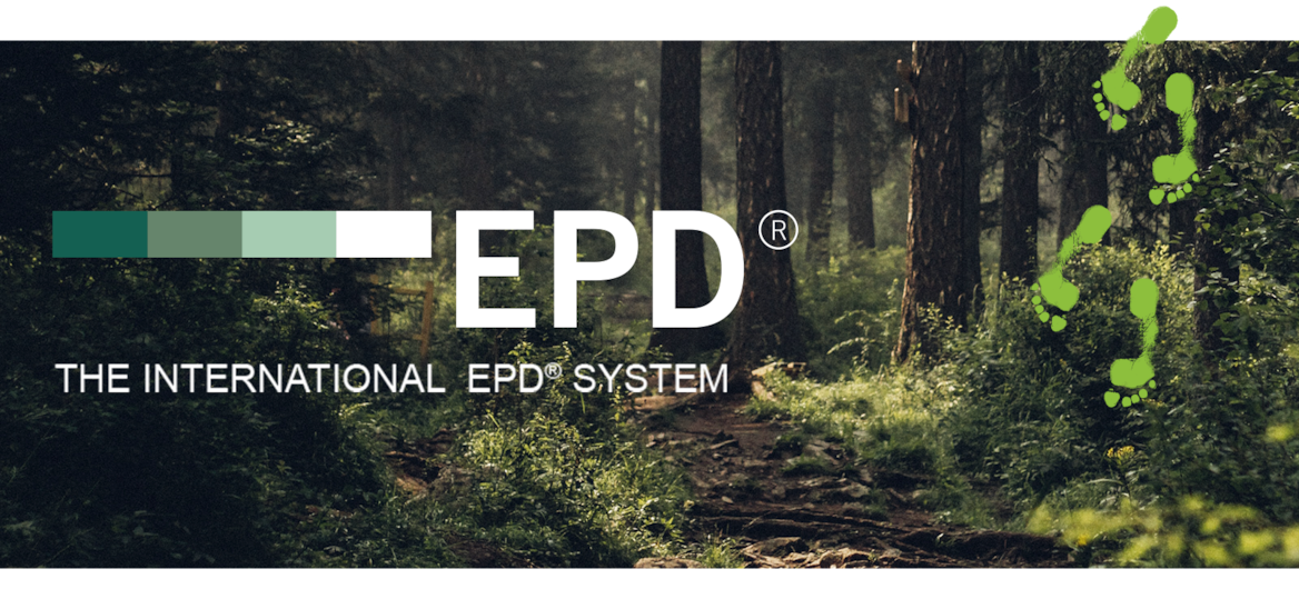 Sunbeams filter through tall pine trees, creating flecks of light on the floor of a dark forest. The EPD logo is superimposed over the image.