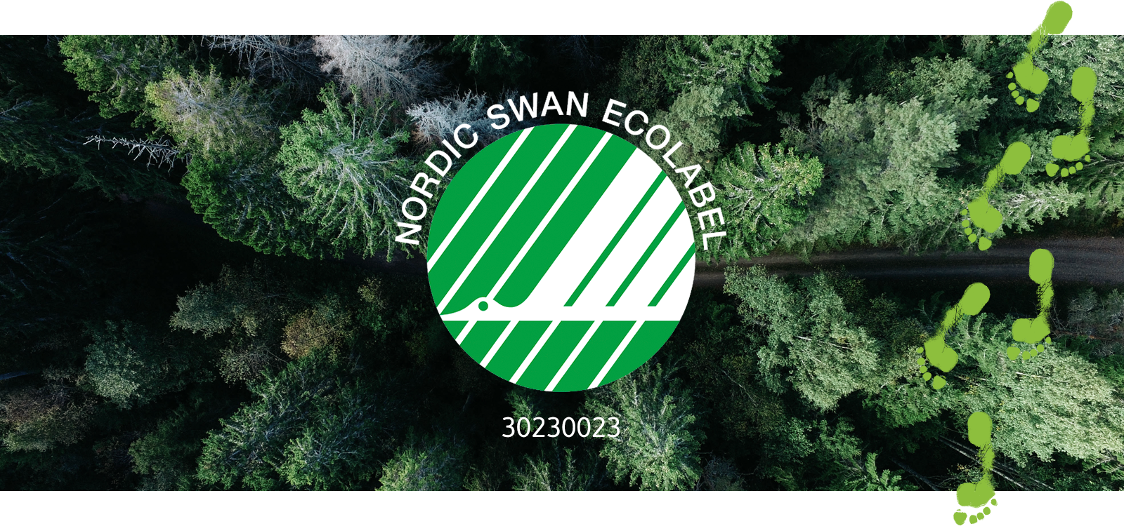 A bird's eye view of a coniferous forest, with a path running through it. Superimposed over the image is the green and white Nordic Swan logo, depicting a swan in flight.