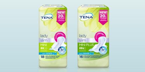 TENA Lady Slim trīs izstrādājumu iepakojuma attēlojums