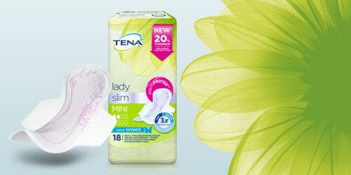 TENA Lady Slim iepakojuma attēlojums un zieds