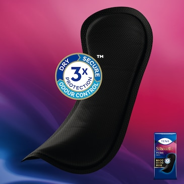TENA Silhouette black pads with Triple Protection