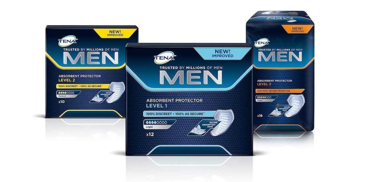TENA Men Emici Koruma Seviye 1 TENA Men Emici Koruma Seviye 2 TENA Men Emici Koruma Seviye 3  paket yelpazesi
