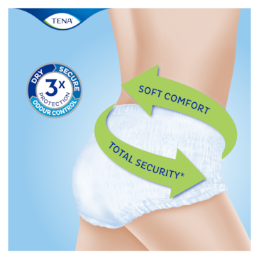 TENA Pants are soft and comfortable incontinence underwear with excellent absorption and leakage protection for total security