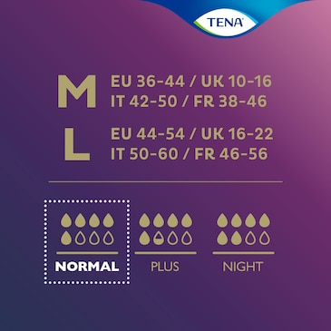 Válasszon a saját igényeinek megfelelő méretű és nedvszívó képességű TENA Silhouette terméket