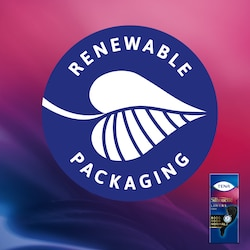 The TENA Silhouette Liners paper packaging is made from 100% renewable fibers.