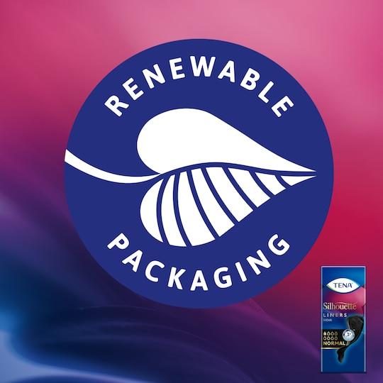 Pappersförpackningen till The TENA Silhouette inkontinenstrosskydd är tillverkad av 100% förnybara fibrer.