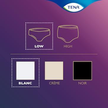 A TENA Silhouette termékcsalád áttekintése – ez a termék alacsony derékrésszel, fehér színben készül