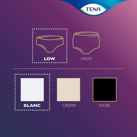 TENA Silhouette -tuotevalikoima – nämä ovat valkoiset, matalavyötäröiset suojaavat alushousut