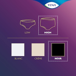 TENA Silhouette range product overview – this is a high waist underwear in black