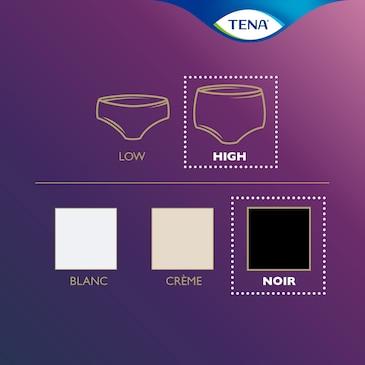 Resumen de la gama de productos TENA Silhouette: ropa interior desechable de cintura alta en color negro