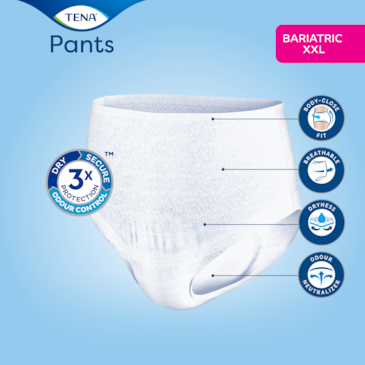 Saugfähige, TENA Pants Bariatric mit körpernaher Passform, atmungsaktivem Material und Geruchsneutralisierer