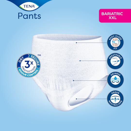 Kropsnær pasform, åndbare materialer og Odour Neutralizer med de absorberende TENA Pants Bariatric