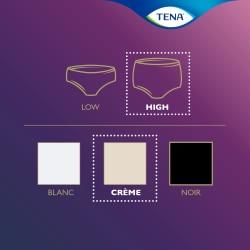 Panoramica della gamma TENA Silhouette – Mutandine assorbenti a vita alta color crema.