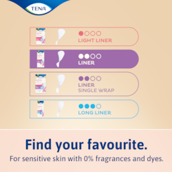 TENA lights incontinence liners are kind to skin
