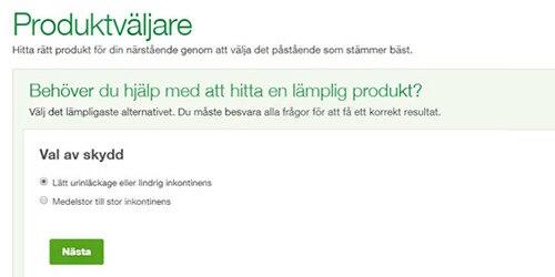 Bild på TENA Anhörig-produktväljare