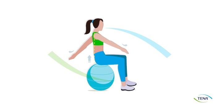 Beckenbodenübung 8 Schwingen auf dem Ball