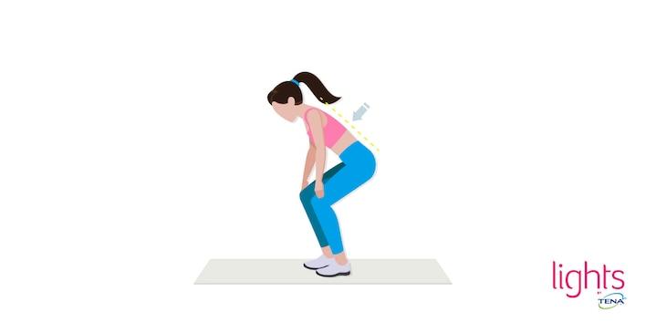 Beckenbodentraining nach Geburt Übung 5 Stehend zur trainierten Beckenmuskulatur