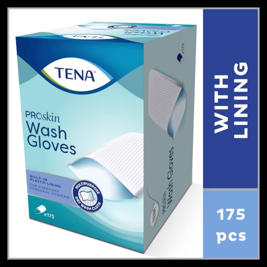 TENA ProSkin Wash Gloves– trockene Waschhandschuhe mit Innenfutter für die tägliche Körperreinigung