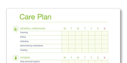 Illustration of the TENA Family Carer Care Plan template