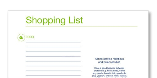 Snap shot of the TENA Family Carer Shopping list template