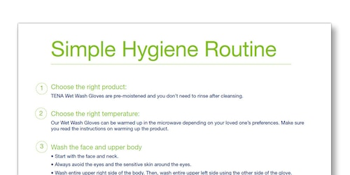 Illustrated list of the TENA Family Carer Simple Hygiene Routine