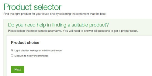 Illustration of product selector