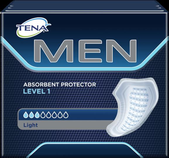 TENA Men Absorbent Protector Level 1-skydden – säkra, absorberande skydd för män med små urinläckage och inkontinens
