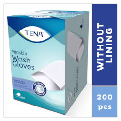 TENA ProSkin Wash Gloves | Trockene Waschhandschuhe ohne Innenfutter für die tägliche Körperreinigung