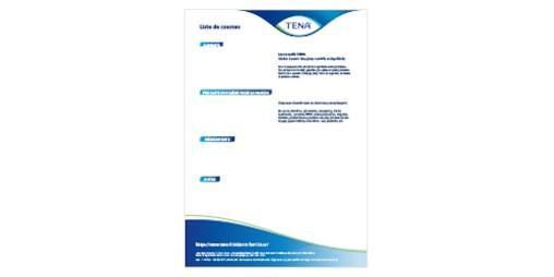 Aperçu du modèle de la liste de courses TENA pour les aidants familiaux
