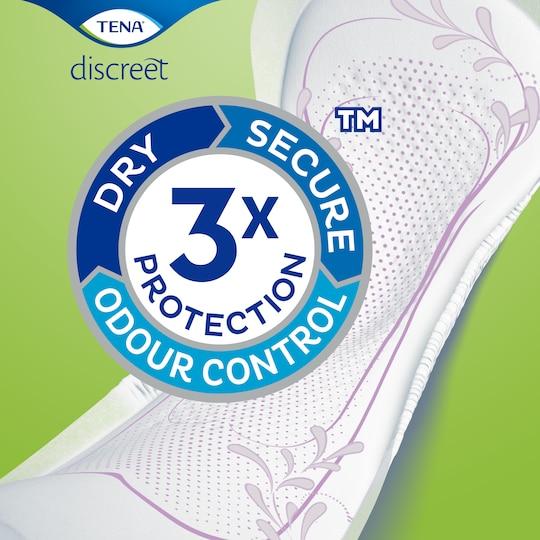TENA Discreet-incontinentieverbanden met drievoudige bescherming tegen doorlekken, geurtjes en een vochtig gevoel