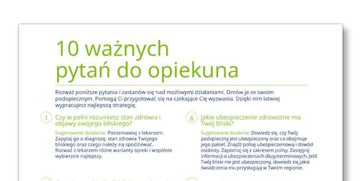 """Zrzut ekranu z szablonu """"10 ważnych pytań"""" – TENA Opiekunowie"""