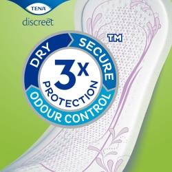 Serviettes TENA Discreet avec Triple Protection contre les fuites, les odeurs et l'humidité