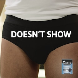 TENA Men Protective shield does not show  and are almost invisible in your boxers