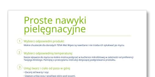 """Zrzut ekranu z szablonu """"Prosta procedura higieniczna"""" – TENA Opiekunowie"""