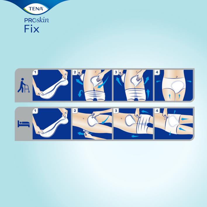 Miten TENA Fix -teippisuojaa käytetään seisten tai makuulla