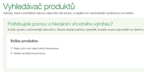 Snímek Vyhledávače produktů TENA Péče o naše nejbližší