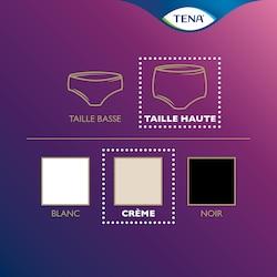 Vue d'ensemble de la gamme de produits TENA Silhouette – sous-vêtement taille haute en couleur crème