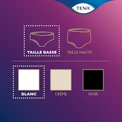 Vue d'ensemble de la gamme de produits TENA Silhouette – sous-vêtement taille basse en blanc